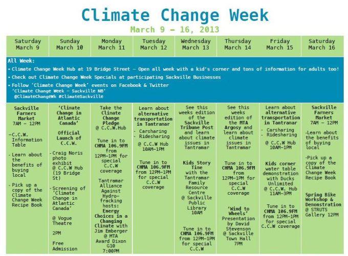 Climate Change Week Calendar